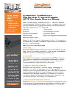 BlazeMaster Healthcare Reference Sheet