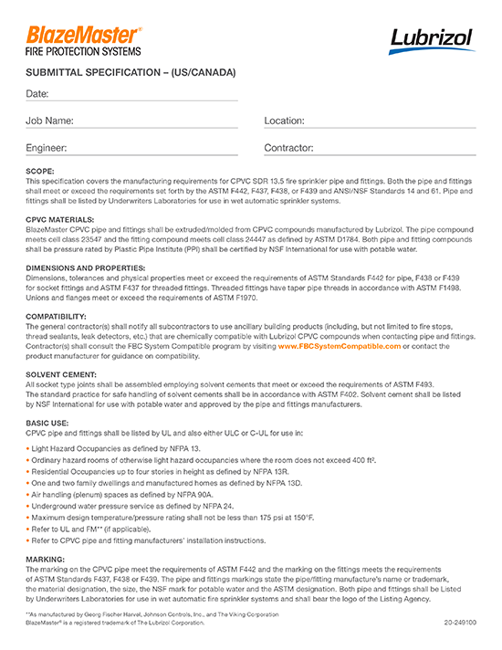 BlazeMaster Submittal Specification - North America
