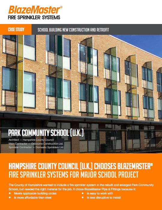 BlazeMaster Park Community School Installation Case Study Cover