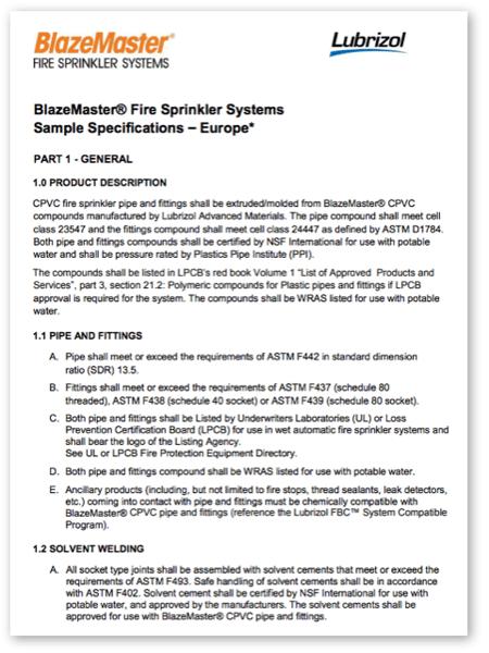 BlazeMaster Sample Specification for Europe