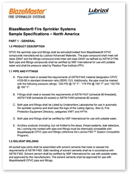 BlazeMaster Sample Specification for North America