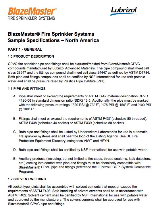 BlazeMaster Sample Specification - North America