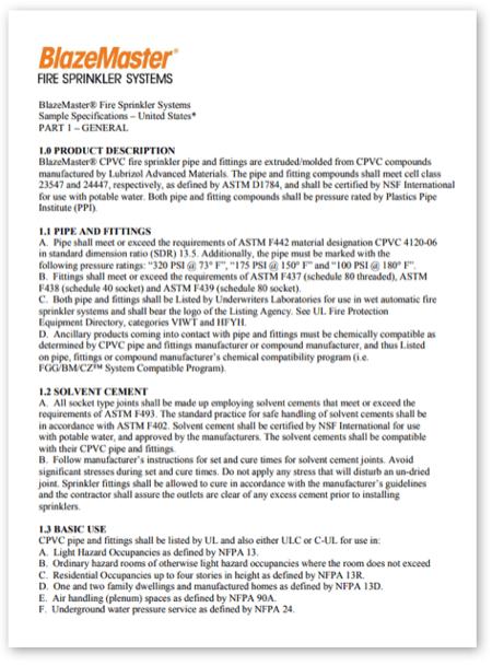 BlazeMaster Sample Specification United States