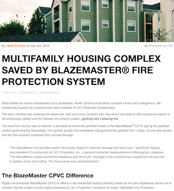 Multifamily housing complex saved by blazemaster case study